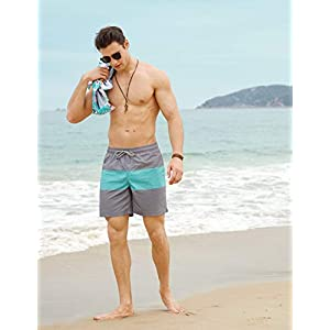 MaaMgic Mens Quick Dry Solid 4 Way Stretch Swim Trunks Mesh Lining Swimwear Bathing Suits