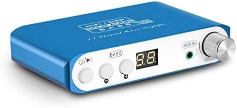 Q100 2.1 Channel Hi-Fi Bluetooth 5.0 Power Amplifier Class D Mini Stereo Audio Amp Speaker Subwoofer Wireless Receiver 80W 40Wx2 Dual DSP Blue