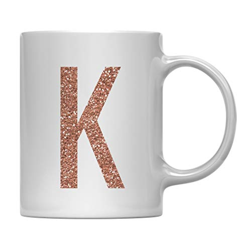 Andaz Press 11oz. Coffee Mug Gift, Rose Gold Faux Glitter, Monogram Letter K, 1-Pack, Friend Girlfriend Wife Teacher Graduation Colored Birthday Christmas Gift Ideas Decorations