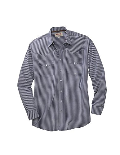 Miller Ranch Western Shirt Mens L/S Stripe Button S Navy ()