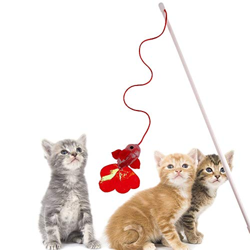 Toy Catnip - Kitten Pet Cat Teaser Red Fish Interactive Fun Toy Wire Chaser Wand Stick Toys - Japan Variety Death Activated Retractable Natural Noise Springs Jingle Hanger Hang Assortments Dental