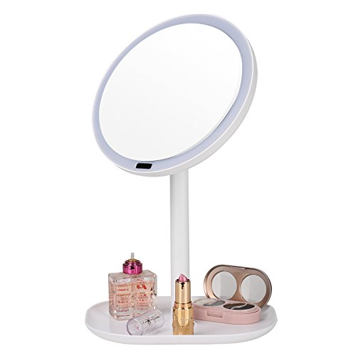 newqibeauty lighted makeup mirror motion sensor with 30 led lights rechargeable 360 degree. Black Bedroom Furniture Sets. Home Design Ideas