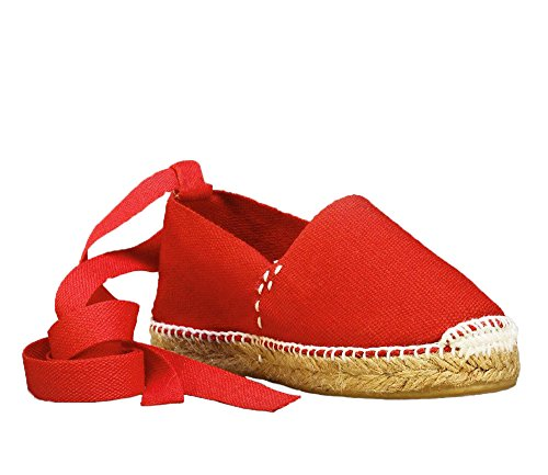 DIEGOS Kids Espadrilles. Hand Made in Spain. (EU 24, Red/White Thread)