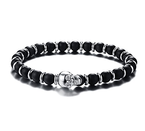 Beaded Stretch Plated Bracelet Silver (PJ Jewelry Unisex Two-tone Agate Beaded Skull head Charm Stretch Bangle Bracelet ,Silver)