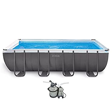 Intex 18' x 9' x 52 Ultra Frame Rectangular Above Ground Pool w/ Pump & Ladder (26351EH)
