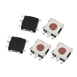 uxcell 5Pcs 5 Pin Square 6mmx6mmx2.5mm Self-Locking DPDT Mini Push Button Switch