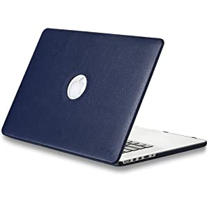 "Kuzy - NAVY BLUE LEATHER Hard Case for Older MacBook Pro 15.4"" with Retina Display Model: A1398 Shell Cover 15-Inch Leatherette NAVY BLUE"