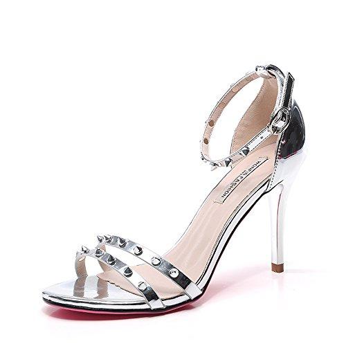 5 Gold CN38 Open Toe Gold EU38 Size Fine Summer Fashion Color Silver ZHIRONG Roman Heel Silver Sandals Shoes Heels UK5 High Women's Rivet 9CM Bx1q4pqTw