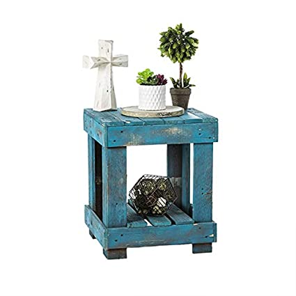 Sensational Del Hutson Designs Rustic Barnwood End Table Usa Handmade Reclaimed Natural Wood Turquoise Interior Design Ideas Gentotryabchikinfo
