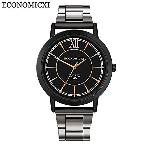 Men's Waterproof Stainless Steel Strap Analog Quartz Round Dial Casual Business Watch (A) ()