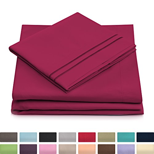 King Size Bed Sheets - Fuchsia Luxury Sheet Set - Deep Pocket - Super Soft Hotel Bedding - Cool & Wrinkle Free - 1 Fitted, 1 Flat, 2 Pillow Cases - Magenta King Sheets - 4 Piece