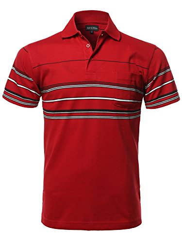 Casual Comfortable Basic Striped Chest Pocket Short Sleeve Polo T-Shirt Red S