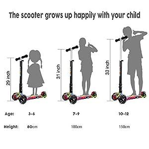 IMMEK Trottinette Enfant à partir de 3 à 12 Ans- Pliable – Charge Jusqu'à 50 kg – avec Guidon anodisé réglable en Hauteur et Roues à LED Clignotantes