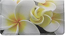 Hawaiian Flowers Leather Checkbook Cover