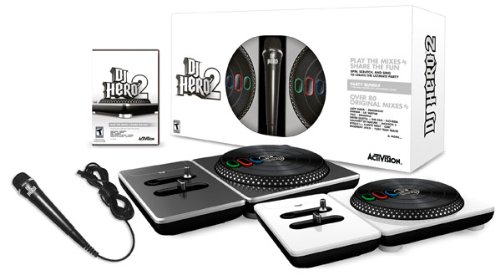 DJ Hero 2 Party Bundle (Wii) - Includes 2 Turntable Controllers, Microphone, and DJ Hero 2 Video Game - Over 80 original mixes from Lady Gaga, Lil' Wayne, Rihanna, David Guetta, Flo Rida, Kanye West, and more