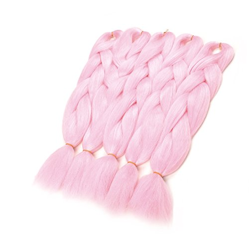 WIGENIUS Jumbo Braiding Hair Extensions 24 Inches Kanekalon Fiber for Twist Braiding Hair (3PCS, Pink)]()