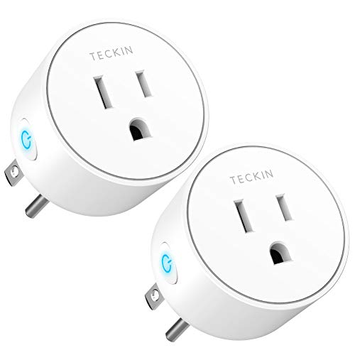 Smart Plug Mini Outlet Compatible with Amazon Alexa and Google Assistant, TECKIN Wifi Enabled Remote Control Smart Socket with Timer Function, No Hub Required,White, 2 Pack by T TECKIN