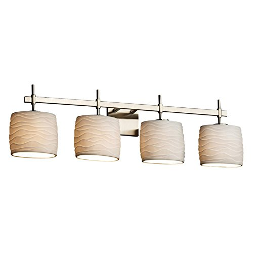 - Justice Design Group Lighting POR-8414-30-WAVE-NCKL Justice Design Group - Limoges - Union 4-Light Bath bar - Oval - Brushed Nickel Finish with Waves Shade,