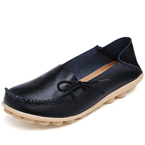 Lucksender Dames Rundleer Veterschoenen Met Rijgveters Loafers Bootschoenen Zwart