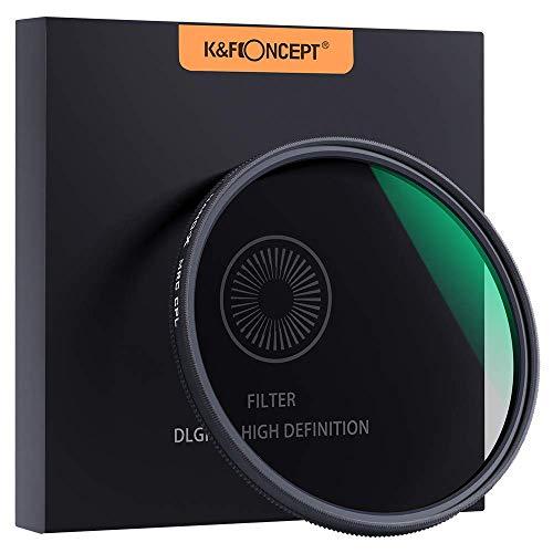 K&F Concept Filtro polarizador CPL Slim 58mm Vidrio Aleman Schott con 18 Capas Recubrimiento Multirresistente y Funda.