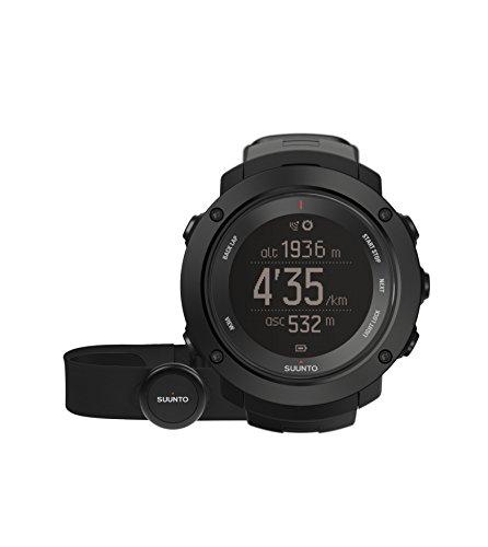 Suunto Ambit3 Vertical (HR) Digital Display Quartz Men's Watch, Blue Silicone Band, Round 50mm Case