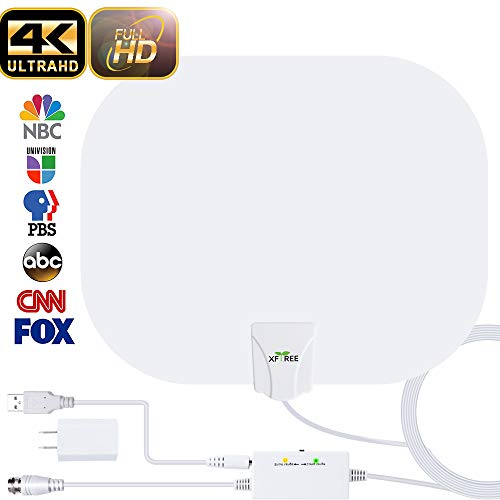 HDTV Antenna, 2019 New Indoor Digital HDTV Antenna,130+ Miles Range with Amplifier Signal Booster USB Power Supply for 4K HD VHF UHF Free Local Channels Support All TV's-17ft Coax Cable (Tv Hd Box Cable)