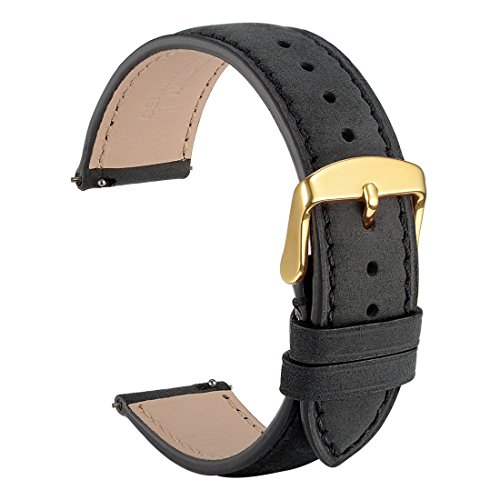 WOCCI 20mm Suede Vintage Leather Watch Band with Gold Buckle, Quick Release Strap (Black with Tone on Tone Seam) by WOCCI
