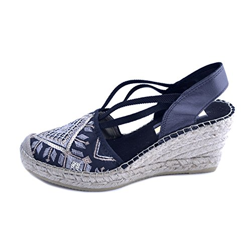 tip with Rubber Wedge Women's Fabric Black in 36 Design Rafia Rhombus Ethnic 7cm Sandals Sole Vidorreta with Size xX8Hqf7