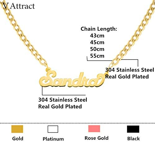 Tresbien Gold Silver Curb Chain Choker Custom Name Pendant Necklace Personalized Jewelry Old English Font Long Necklaces