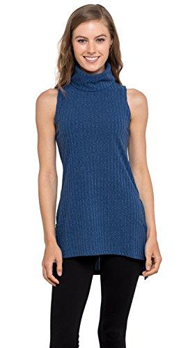 Womens Turtleneck Tunic Tank Top - Sleeveless Ribbed Sweater, Velucci (Blue XL)