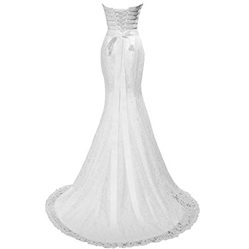 aedc555fd07b7 50%OFF Solovedress Women's Beaded Pleat Lace Wedding Dress Mermaid Bridal  Gown with Sash