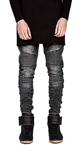 Skinny Retro Uomo Jeans Strappati Stretch Da Ragazzo Distrutti Biker Slim Denim Braun Fit wPwvYfq