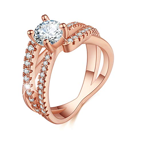 Madeone ✦ 18K Gold Plating Excellent Cut Cubic Zirconia CZ Stone Star Track Rings for Women with Box Packing Size 5-10 (7)