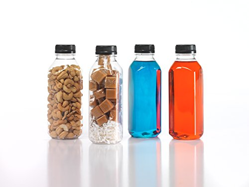 Clear Food Grade Plastic Juice Bottles 16 Oz (Pint) with Cap (6) (Best Chicken Science Fair Project)