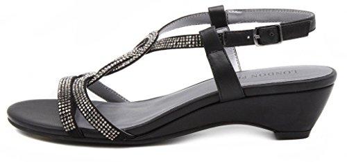16f6d999f London Fog Womens Macey Demi-Wedge Dress Sandals Black 7 M US - Buy ...