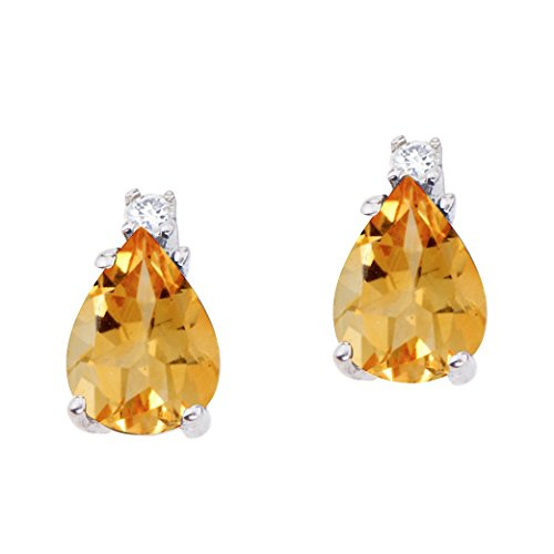 (FB Jewels Solid 14k White Gold Studs Genuine Birthstone Pear Shaped Citrine and Diamond Earrings (2.6 Cttw.))