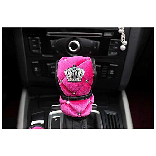 Siyibb Soft Plush Car Gear Shift Cover Crystal Crown Car Styling - Pink ()