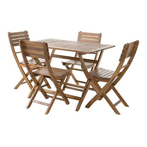 GDF Studio Vicaro 5 Piece Wood Outdoor Folding Dining Set Perfect for Patio with Natural Finish