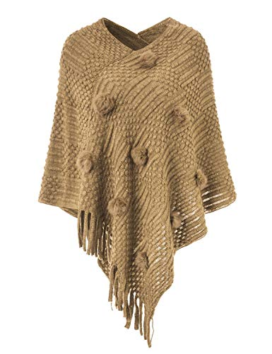 Ferand Women's Casual Knit Striped Poncho Sweaters with Pompoms, One Size, Khaki