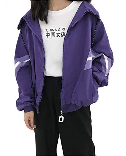Autunno Casual Eleganti Ragazze Leggero Outwear Lila Coat Lunghe Zip Stampate Moda Stlie Giacca Donna Relaxed Maniche Giacche Sportivi Grazioso Primaverile zAwxFq
