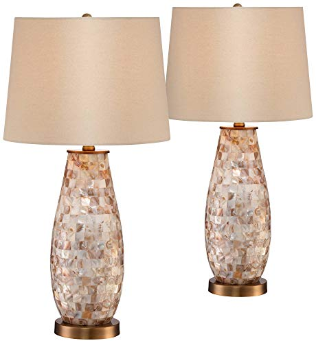 Kylie Cottage Table Lamps Set of 2 Mother of Pearl Tile Vase Beige Drum Shade for Living Room Family Bedroom Bedside Office - Regency Hill (Coastal Rooms Living Small)
