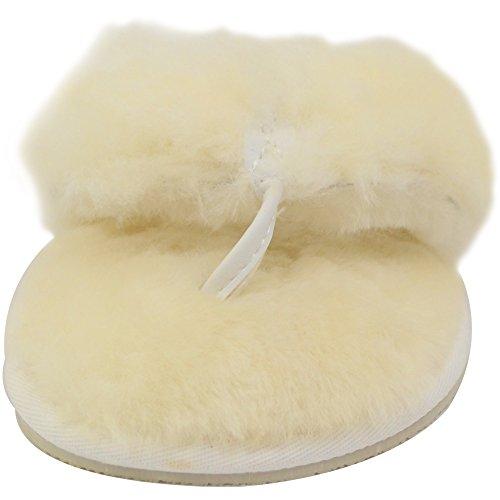 Pantofole Da Donna Di Lusso In Pelle Di Montone Con Infradito / Sandalo / Infradito Perizoma In Bushga Naturale Avorio
