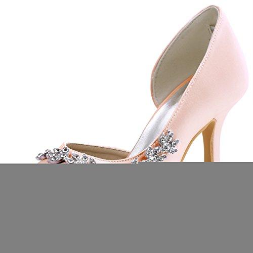 ElegantPark HP1542 Women Peep Toe Rhinestones Pumps High Heel Satin Wedding Bridal Dress Shoes Blush US 7