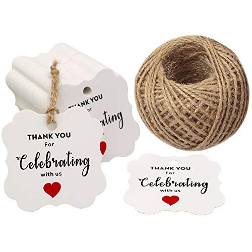 ding Favors Tags,Thank You for Celebrating with Us Paper Gift Tags,100 Pcs Kraft White Thank You Tags for Wedding Party Gift Tags with 100 Feet Natural Jute Twine ()