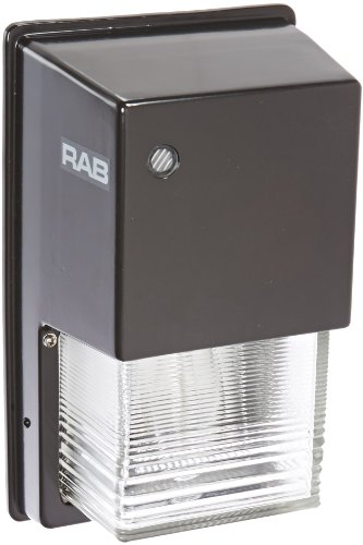 RAB Lighting WPTGHN70/PC Tallpack Metal Halide Wallpack with Prismatic Glass Refractor, ED17 Type, 70W Power, 5600 Lumens, 120V Button Photocell, Bronze Color -