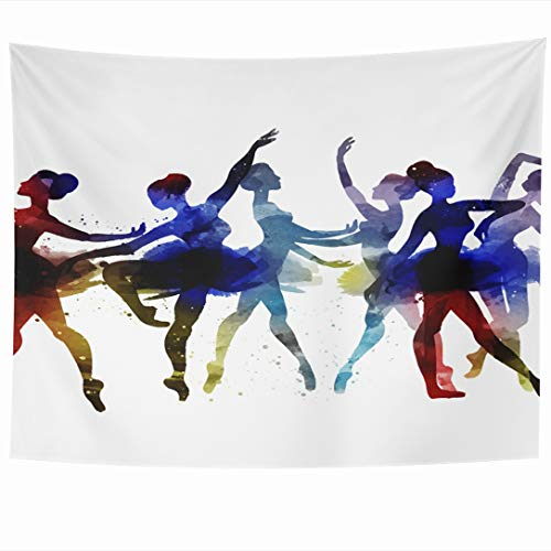 Ahawoso Tapestry 60 x 50 Inches Ballet Ballerina Dancing Watercolor Drawing Dance Dancer Pose Black Graphic Wall Hanging Home Decor Tapestries for Living Room Bedroom Dorm