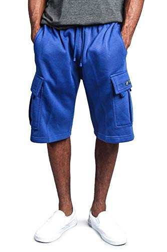 G-Style USA Men's Solid Fleece Heavyweight Cargo Shorts FS76 - Royal Blue - 2X-Large