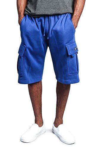 G-Style USA Men's Solid Fleece Heavyweight Cargo Shorts FS76 - Royal Blue - 2X-Large