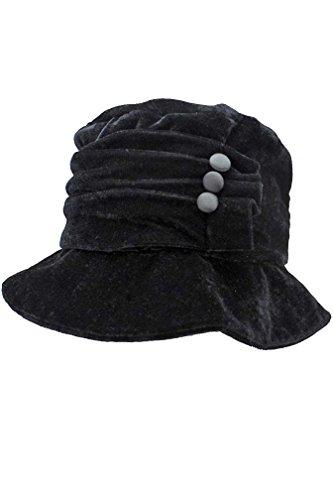 Black Velvet Bucket Hat With Button Trim