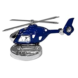 StealStreet SS-KD-3556-BLUE, 4 Die Cast Metal Helicopter Analog Clock and Paperweight, Black,